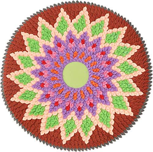 Guru-Shop Runde Upcycling Mandala Badmatte, Bodenmatte, Badvorleger - Motiv 6, Rot, Baumwolle, Teppiche, Bodenmatten