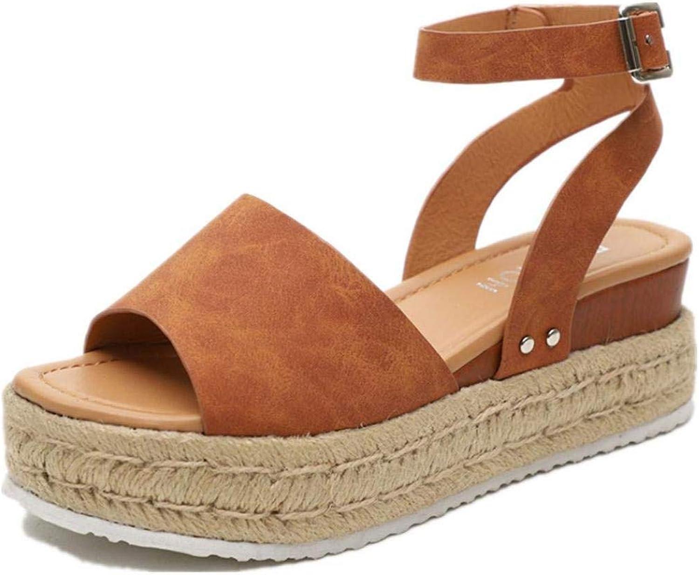 YYW Women Fashion Peep Toe Platform Sandals shoes Casual Summer Wedge Ankle Strap Sandals