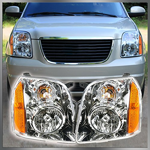 Headlights Headlamps Left & Right Pair Set of 2 for 07-13 GMC Yukon SUV