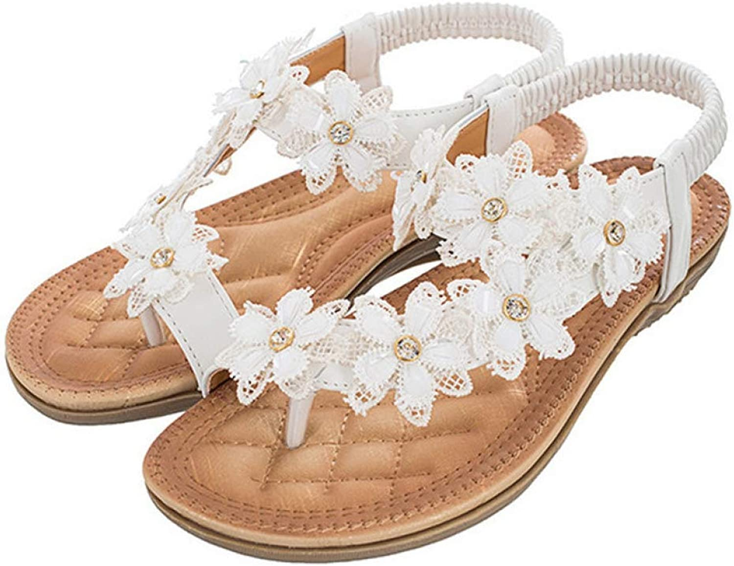 T-JULY Women Sandals Summer Boximiya Style White color Sweet Floral Beaches Crystal Flip Flops Women Flats