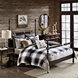 MADISON PARK SIGNATURE Cozy Comforter Set-Rustic Lodge Style Combo Filled Insert, Removable Duvet Cover. Matching Shams, Decorative Pillows, King(110'x96'), Urban Cabin, Plaid Brown 9 Piece