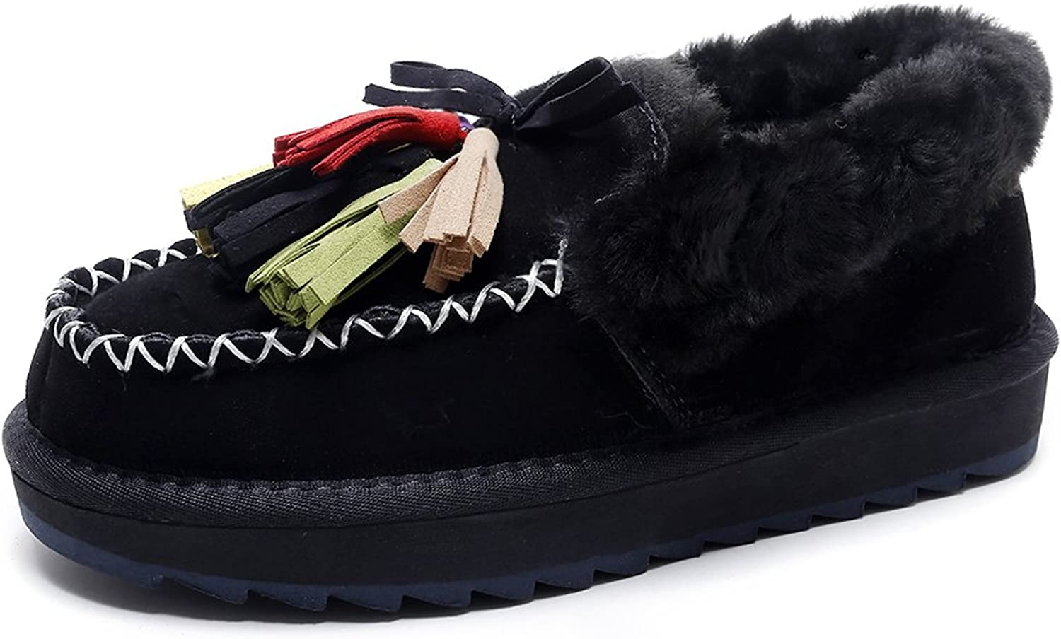 A-BUYBEA Women's Treaded Sole Tassels Pom-poms Flats Warm Fur Loafer shoes