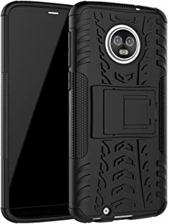 Moto G6 Case, Moto G (6th Generation) Case, YMH Heavy Duty with Kickstand Full-Body Durable Rugged Armor Military Grade Shock Absorption Raised Bezels Case Cover for Motorola Moto G6 5.7 Inch (Black)