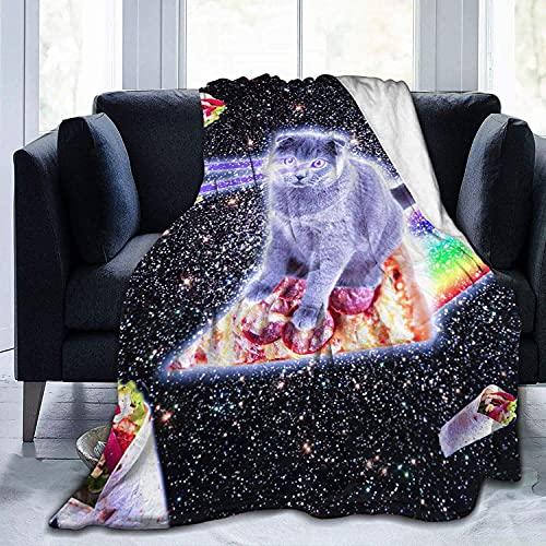 Manta para pizza con diseño de mariposa de gato, manta espacial, suave de franela de felpa, cálida manta para niños, adultos, cama, sofá de viaje