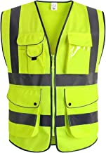 XIAKE Class 2 Reflective Safety Vest with 9 Pockets and Zipper Front High Visibility Safety Vests,ANSI/ISEA Standards(Smal...