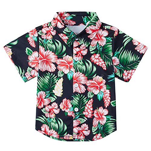5t Boys Hawaiian Aloha Dress Shirts Tropical Button Down Shirt Skin-Friendly Material Holiday Beach Tops Tee Blouse for Kids Size 6