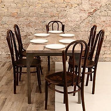 Table de salle à manger contemporaine avec cadre en acier et chêne – Acier argenté – Beige