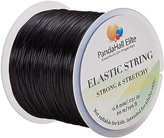 PH PandaHall Elite Elastic Stretch Polyester Threads Jewelry Bracelet Beading String Cords 60M 1 Roll Black 0.8mm Black-60m
