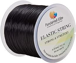 PandaHall Elite 0.8mm Elastic Stretch Polyester Threads Jewelry Bracelet Beading String Cords 60m 1 Roll Black