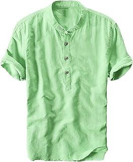 Tシャツ リネン ティーシャツ 薄手 涼しい メンズ 半袖 五分袖 七分袖 長袖 無地 ヘンリーネック 麻 コットン シン プル ベーシック トップス カジュアル おしゃれ 春 夏