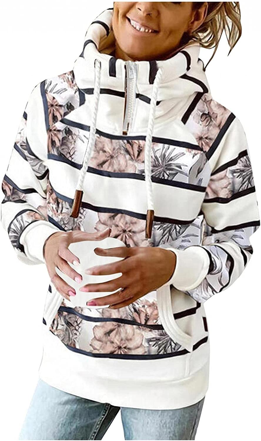 Gibobby Hooded Sweatshirts for Women 1/4 Zip Pullover Casual Button Pocket Long Sleeve Striped Print Drawstring Hoodies