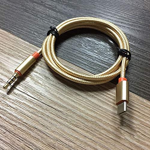 USB Tipo C a Adaptador de Conector Auxiliar de Audio de 3,5 mm USB C Macho a Cable Macho de 3,5 mm, Dorado
