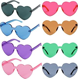 Heart Shaped Monoblock Transparent Colored Party Favors Rimless Sunglasses for Women