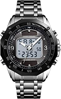 Silver Stainless Steel Strap Outdoor Sport Watch Analog Digital LED Dual Time Display Solar Watches for Men
