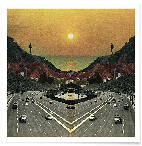 """Juniqe® Retro Poster 20x20cm - Design """"End of The Road"""" entworfen von Sammy Slabbinck"""