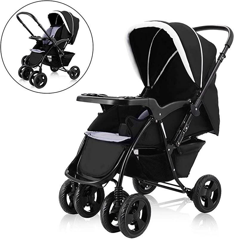 Costzon Infant Stroller Two Way Foldable Baby Toddler Pushchair W Storage Basket Black