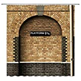 Platform 9 and 3/4 of King's Cross Station - Secret Passage to Magic School Decorative Shower Curtain Brick Wall Bathroom Accessories Polyester Fabric Bath Curtains 69X70 Inches Lierpit