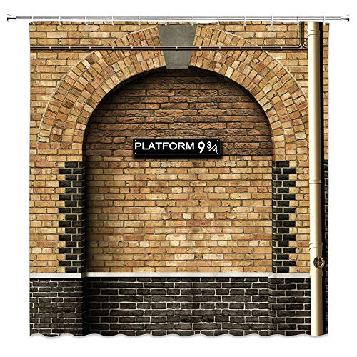 Platform 9 and 3/4 Shower Curtain of Kings Cross Station - Secret Passage to Magic School Decorative Shower Curtain Brick Wall Bathroom Accessories Polyester Fabric Bath Curtains 69X70 Inches Lierpit