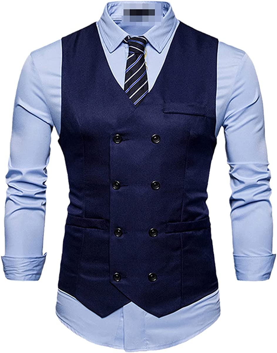 Men's Double Breasted Suit Vest Fashion Slim Sleeveless Vest Business Wedding Vest Clothing
