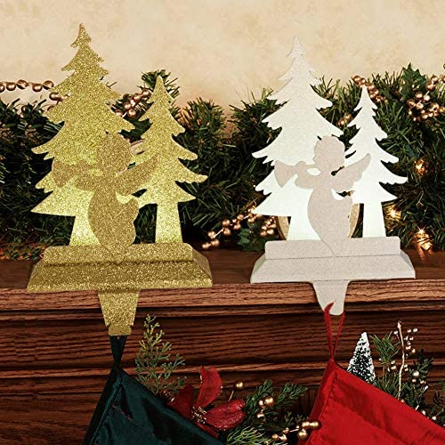 FORUP Christmas Angel Stocking Holders Stand Hangers LED Lighted Christmas Mantle Decoration product image
