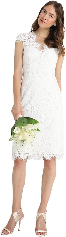 Kelaixiang Women's White Lace Cap Sleeves Knee Length Dress Bridesmaid Wedding Prom Party Dresses