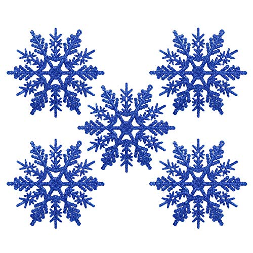 Naler 24 x Schneeflocken Weihnachten Deko für Weihnachtsbaum Glitzer Weihnachtsbaumschmuck, Blau