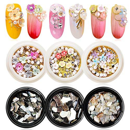EBANKU 6 piezas Flores Secas para Uñas Espárragos de Uñas Dorados Cristales de Guijarros de Concha Triturada Gemas, Kit de Decoración de Arte de Uñas para Suministros de Manicura de Diseño