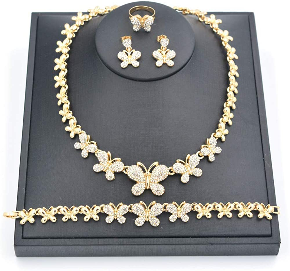 Giffor Butterfly 14K Gold Necklaces Women Jewelry Set for Bridal Wedding Gifts Earrings Bracelets Rings