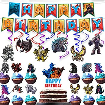 Monster vs Monkey Happy Birthday Hanging Swirl Streamers Banner Cake Topper Party Supplies Set Decor Red Blue Purple Foil for Anime Fans Theme Birthday Party Decorations