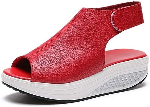 Sandales, gateau éponge, Fond épais, Velcro Confortable, Chaussures à Bascule légères-rouge-38