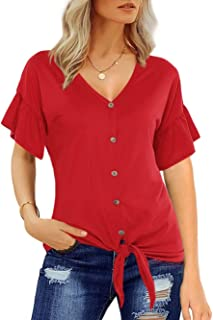 Women's Summer Sexy V-Neck Loose Blouse Short Sleeve Button Down Shirt