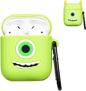Punswan One Eye Monster Airpod Case for Airpods 1&2,Cute 3D Funny Cartoon Character Soft Silicone Catalyst Cover,Kawaii Fun Cool Keychain Design Skin,Fashion Cases for Girls Kids Boys Air pods