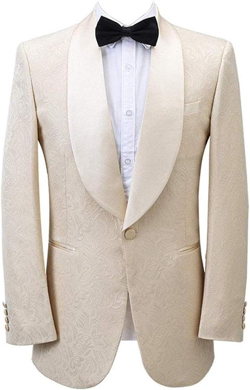 Wemaliyzd Men's Jacquard Wedding Blazer Slim Fit Sport Coat 1 Button Suit Jacket