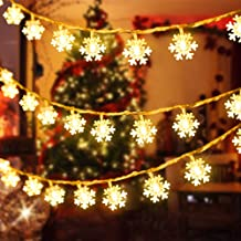 QLG&S Snowflake Christmas Lights Outdoor 19.7 FT Battery Operated Warm White 40 Led String Xmas Lights for Garden Patio Be...
