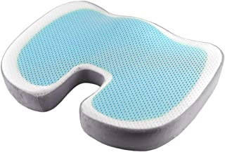 N / A - Cojín de asiento de oficina, cojín de espuma con memoria y gel para asiento de coche, conductor, sillón, silla de ruedas, gel | Gris, 45 x 35 x 7 cm