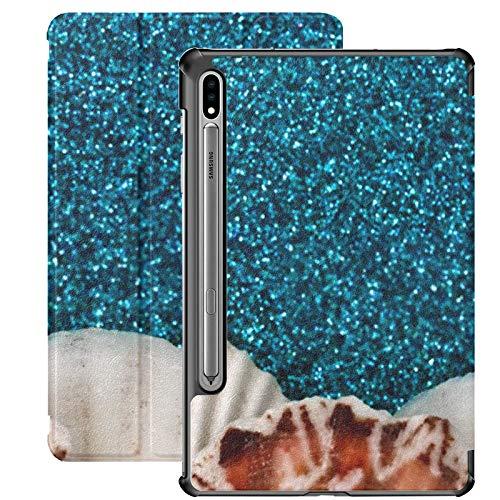 Funda Galaxy Tablet S7 Plus de 12,4 Pulgadas 2020 con Soporte para bolígrafo S, Conchas Marinas sobre Fondo de Purpurina Azul Agua Estuche Protector con Soporte Delgado para Samsung