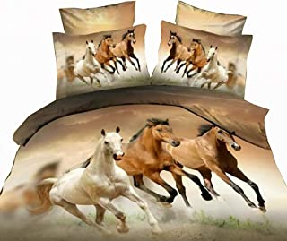 Erosebridal Horses Printed Duvet Cover Set Twin Size Brown Teen Boys Bedding Set Animal Theme Comforter Cover Unique Exotic Bedspread Cover Horse Pattern Decor Quilt Cover Soft Lightweight