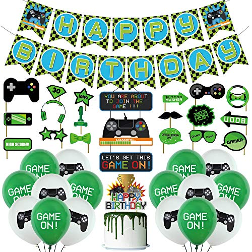 Gaming Cumpleaños Decoracion Video Gamer Happy Birthday Pancarta Adornos para Tartas Globos Usado para Miner Pixel Style Gamer Party