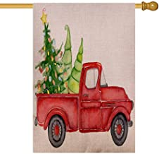 Anucky Outdoor Snowman Christmas Decorations 28 X 40 Inches,Joy Garden Flag Red Christmas Truck Pine Trees New Year Watercolor Snowman Outdoor Decorations,Garden Flags Christmas