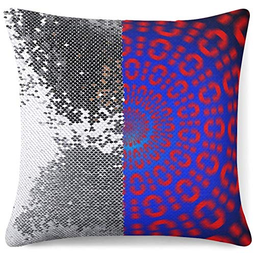 Custom Sequin Pillow Case Sparkling Pillowcases Binary Code Optical Funny Gift Silver Glitter Throw Cushion Cases (16 in x 16 in) 40 cm x 40 cm