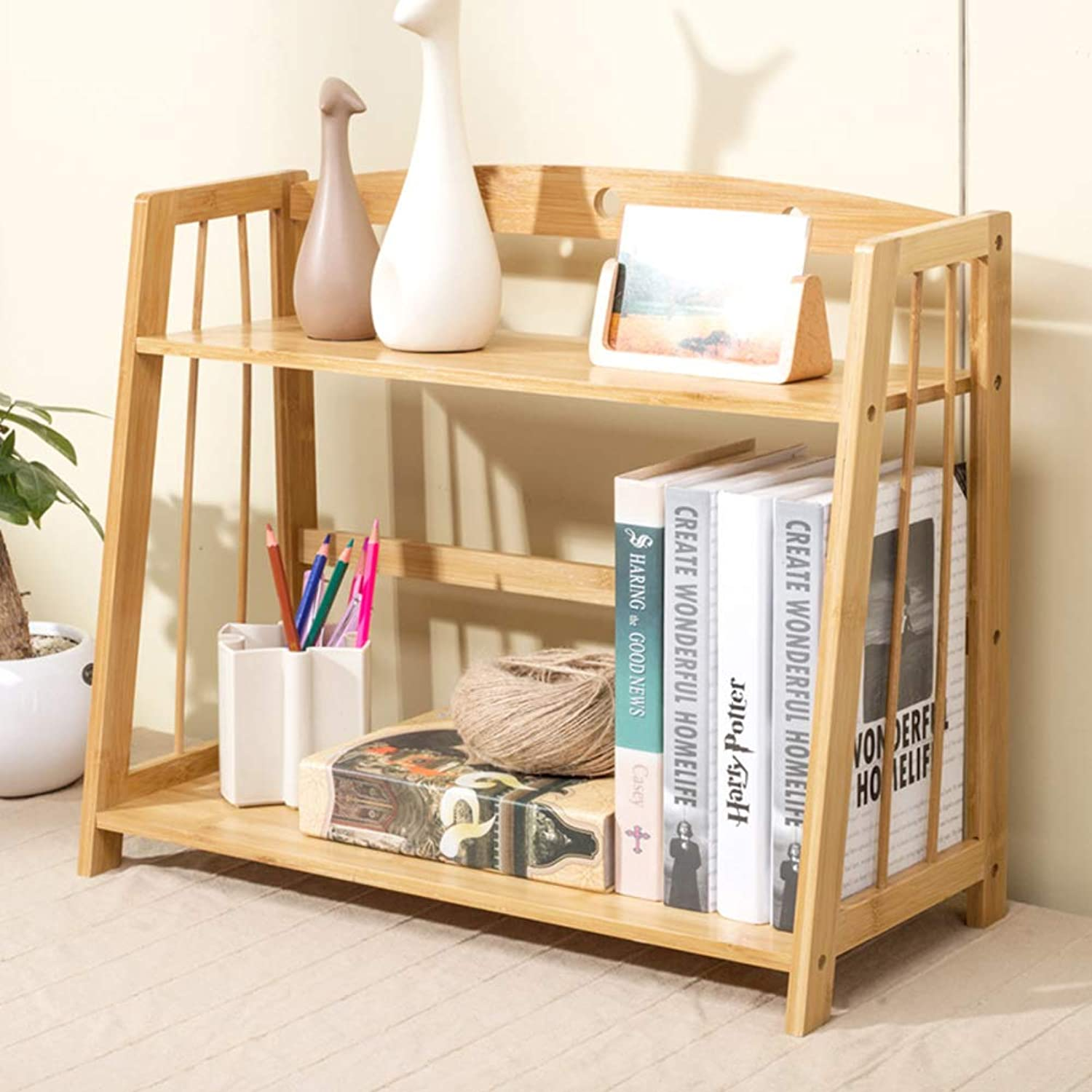 Bamboo Bookcase 2 Shelf,Desktop Bookshelf Space Saving Multipurpose Storage Organizer Shelves-A 52  42  25cm(20  17  10in)