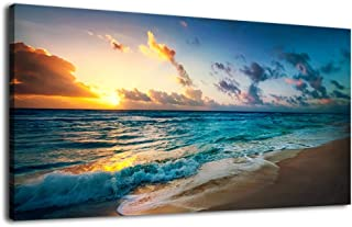 arteWOODS Canvas Wall Art Blue Waves on Beach Sunset Painting Nature Pictures Panoramic Canvas Arotwork Ocean Wall Art for Home Office Decoration Framed Ready to Hang 20
