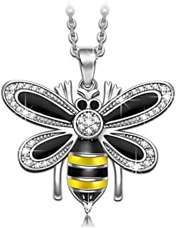 NINASUN Women Christmas Necklace Gifts Bumblebee Women Necklace Fine Jewelry 925 Sterling Silver AAA Cubic Zirconia Enamel Pendant Women Necklace Hypoallergenic Material with Gift Box