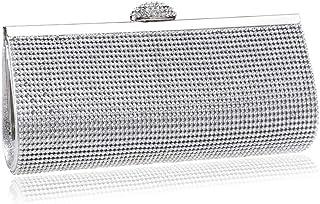 Handbags - Solid-colored Vintage Ladies' Banquet Dinner Bag, High-end Diamond-encrusted Handbag, Gold/silver/black, 22.5x4.5x10CM Fashion (Color : Silver)