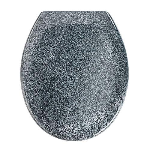 WENKO Premium WC-Sitz Ottana Granit - Antibakterieller Toilettensitz, Absenkautomatik, rostfreie Fix-Clip Hygiene Edelstahlbefestigung, Duroplast, 37.5 x 44.5 cm, Granit