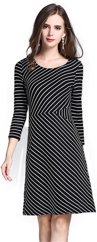 Nfgumnos Women's dresses, winter dresses, women's stripes, zipper dresses,black,L