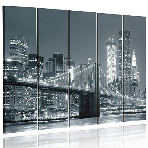 Feeby Frames, Cuadro en lienzo - 5 partes - Cuadro impresión, Cuadro decoración, Canvas Tipo C, 200x100 cm, PUENTE, CIUDAD, NOCHE, NUEVA YORK, PUENTE BROOKLYN, BLANCO Y NEGRO