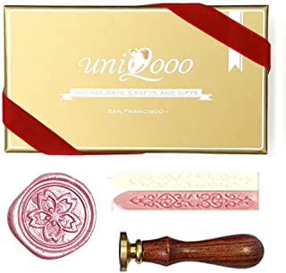 UNIQOOO Arts & Crafts Vintage Japanese Sakura Wax Seal Stamp Kit- Pink & White Wax Sticks with Wicks- Perfect Decoration for Invitations, Cards, Gift Wrapping, Snail Mails, Wine Packages