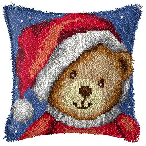 Latch Hook Kits for Adults Kids DIY Throw Pillow Cover Crochet Yarn Kits Christmas Bear Pattern Sofa/Bedroom Decor 17'' x 17''
