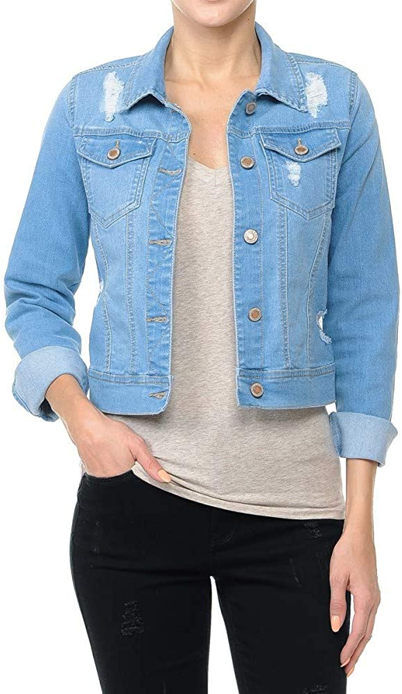 Women's Cropped Fit Distressed Stretch Denim Jacket with Button Front